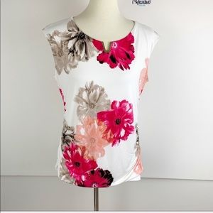 Calvin Klein Floral Sleeveless Ruched Blouse D1443